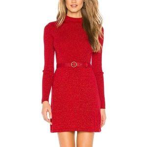 Free People Medium Red Shimmer Mini Dress 3Y47